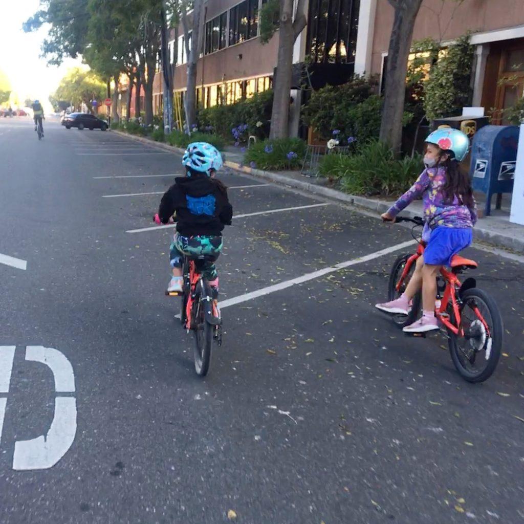 Red kid bike crew in Berkeley